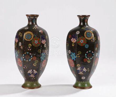 Pair of Chinese cloisonne vases, decorated with circular flo