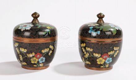 Two Chinese cloisonne pots and covers, in black ground with