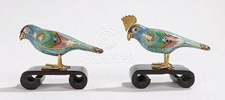 Two Chinese cloisonne birds, with blue bodies and foliate mu
