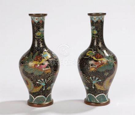 Pair of Chinese cloisonne miniature vases, with black ground