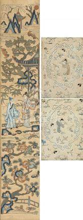 Chinese silks, to include a pair with a central Oriental fig