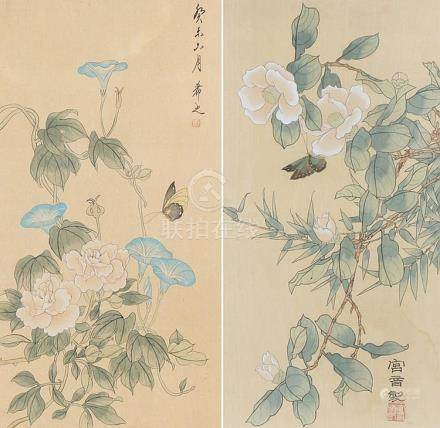 Two Chinese watercolours, both of flowers and butterflies, s