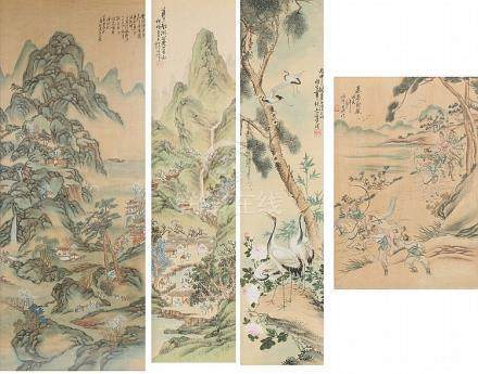 Four Chinese pictures on silk, depicting landscape scenes, w
