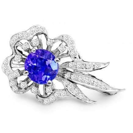 14k Gold Vinatge Diamond Tanzanite Pin