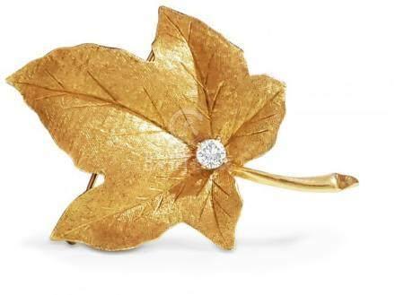 14K Gold Maple Leaf Pin 1/2 Carat Diamond Pin