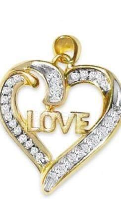 14k Yellow Gold, Love Heart Shape Pendant