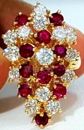 14K Gold, Cocktail RUBY & DIAMOND Ring