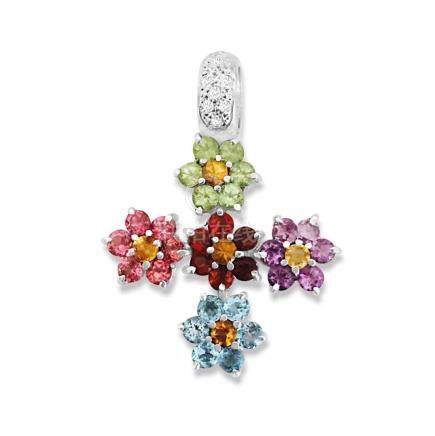 18k Gold Multi Color Gemstone Diamond Cross pendant