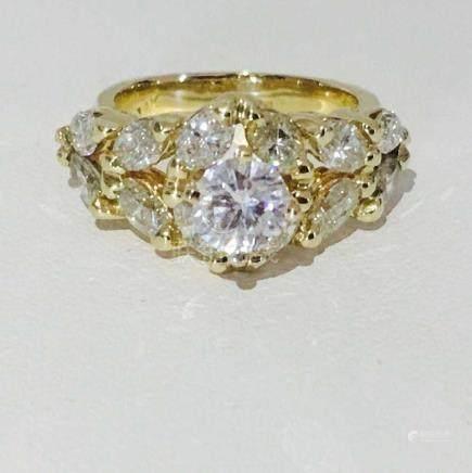 14K Gold, 1.85 CT Diamond Engagement Ring.