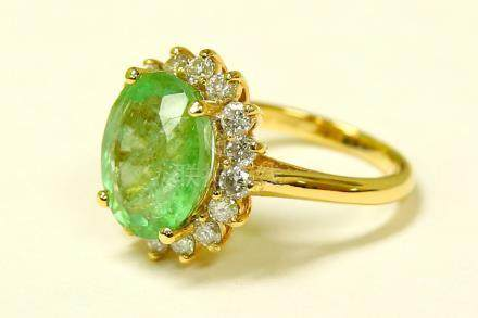 14k Yellow Gold 6.5 CARAT Diamond Emerald Ring