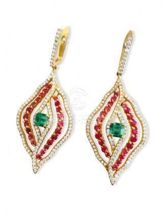 14k Gold 6 carat Diamond Emerald and Ruby Earrings