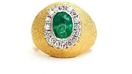 18k Gold Vintage 2.5 ct Emerald And Diamond Ring