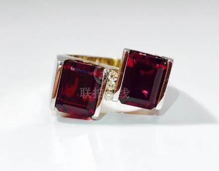 14K Gold, 7 Carat Natural Rubellite and Diamond Ring.