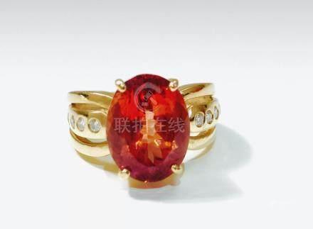 14k Gold, 5.00 CT Hessonite Garnet and Diamond Ring.