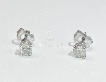14K white gold, 0.50 CT old mind diamond earrings/studs