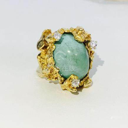 Vintage 14K Gold, Vintage Turqoise and Diamond Ring