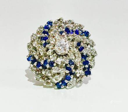14K, 3.00 CT Diamond and Blue Sapphire Cocktail Ring