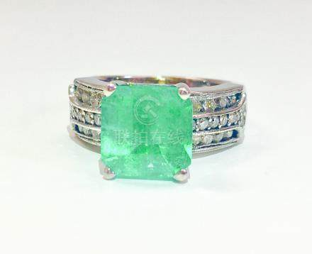 6.00 Carat Colombian Emerald and Diamond Ring