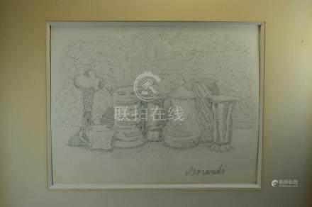 INK ON PAPER, STILL LIFE, G. MORANDI (ATTR)