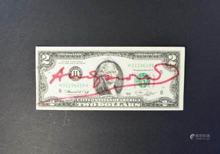 A TWO DOLLAR US BILL BEARING SIGNATURE ANDY WARHOL