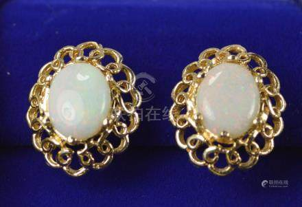 EARRINGS, 14KT GOLD, OPAL