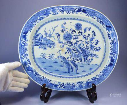 CHINESE HUGE OVAL PORCELAIN  PLATTER CA. 1700'S