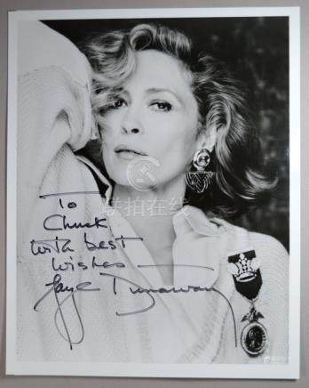 FAYE DUNAWAY SIGNED AND DEDICATED  PHOTO