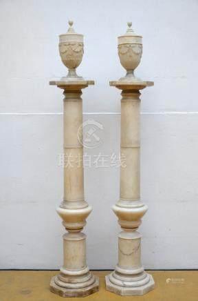 Pair of alabaster columns with vases, 19th century(*) (161cm)