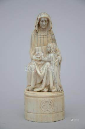 Gothic revival statue in ivory 'woman and child' (14cm)