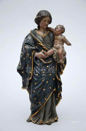 Statue in carved polychrome wood 'Madonna with child', 18th century (28cm)