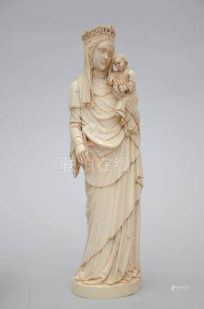 Large gothic revival 'madonna with child' in ivory (*) (35cm)