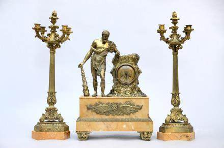 Mantle piece in bronze and marble 'Hercules', late 19th century (*) (16x40x60cm)