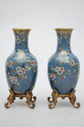 Pair of Chinese cloisonnÈ vases with bronze mounts (17cm)
