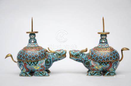 Pair of Chinese cloisonnÈ candlesticks 'mythical animals' (*) (17x16cm)