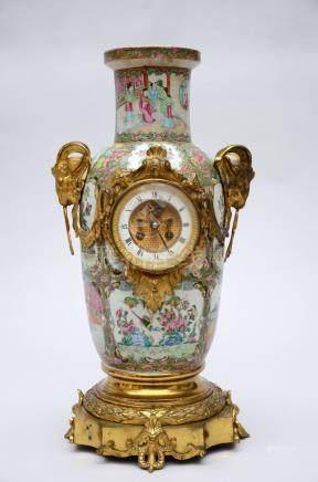 Canton vase with bronze clock (57cm)