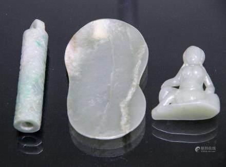 THREE PIECES OF WHITE JADES