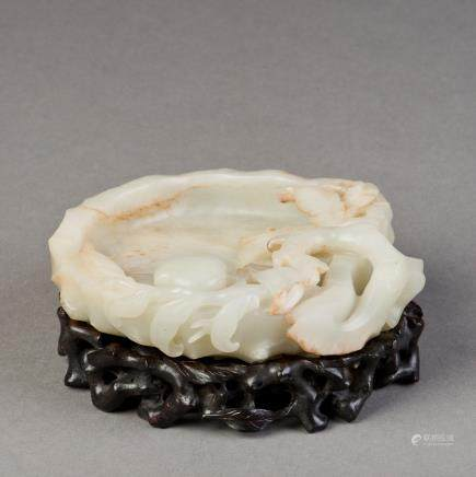 A WHITE JADE CARVED BRUSH WASH