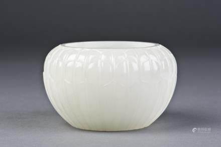 A WHITE JADE BRUSH WASHER