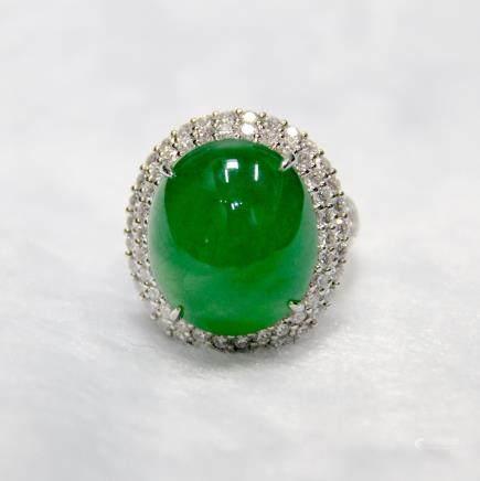 AN EXCEPTIONAL JADEITE & DIAMOND RING, GIA CERTIFIED