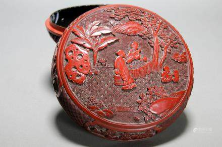 A CHINESE CINNABAR LACQUER CIRCULAR BOX AND COVER