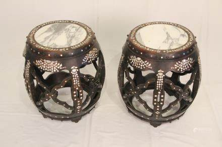 A PAIR OF CHINESE MOTHER-OF-PEARL & MARBLE INSET STOOLS
