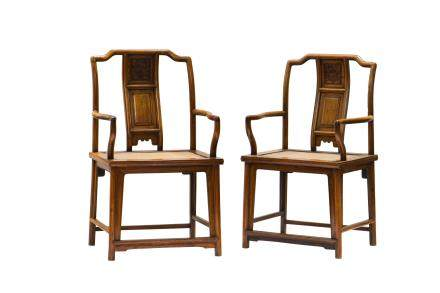 A PAIR OF HUANGHUALI ARMCHAIRS (Y)