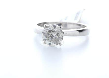 18ct White Gold Single Stone Claw Set Diamond Ring 2.10