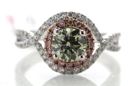 18ct White Gold Single Stone With Halo Setting Ring 1.36 Natrual Fancy Green Centre Stone 0.87 Carat