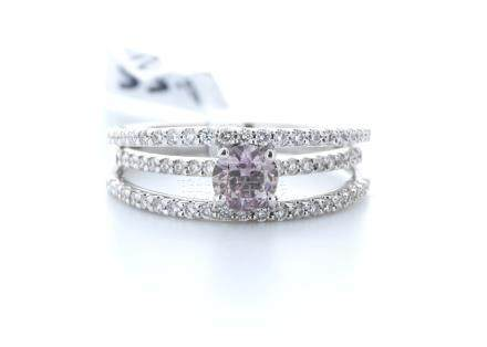 18ct White Gold Claw Set With Fancy Natrual Pink Centre Stone Semi Eternity Diamond Ring 0.55