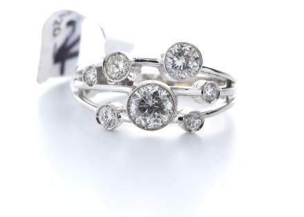 18ct White Gold Boodles Style Rub Over Set Semi Eternity Diamond Ring 1.05
