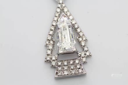 18ct White Gold Halo FANCY Cut Christmas Tree Diamond Pendant 1.01 (0.29)