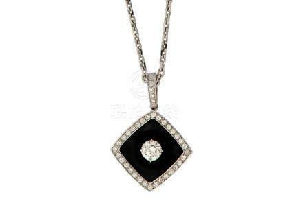 An enamel and diamond 'Nuit Noire' pendant necklace, by Chanel