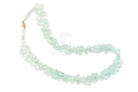 An aquamarine bead necklace