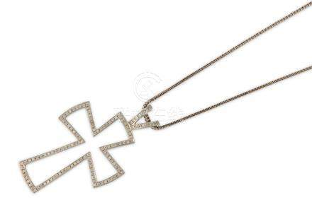 A diamond-set cross and chain, by Theo Fennell